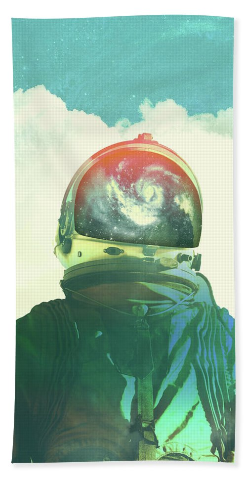 Collage Bath Towel featuring the photograph God Is An Astronaut by Fran Rodriguez