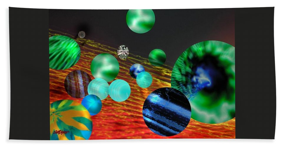 A Tribute To Donovan And His Song cosmic Wheels. A Line In The Song...god Is Playing Marbles With Hand Towel featuring the digital art God Playing Marbles Tribute To Donovan by Seth Weaver