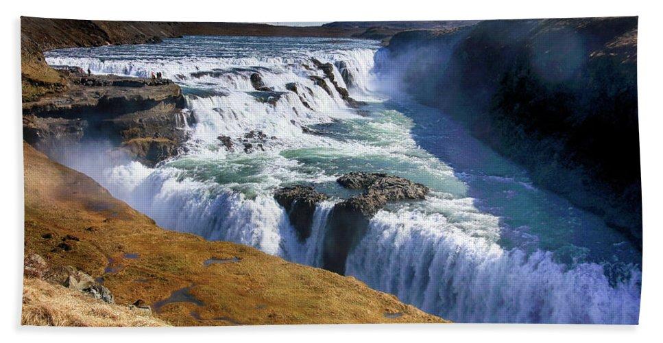 Goðafoss Bath Sheet featuring the photograph Godafoss Waterfall by Ceri Jones