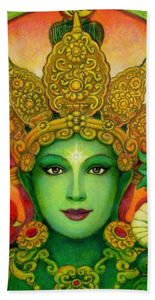 Goddess Hand Towel featuring the painting Goddess Green Tara's Face by Sue Halstenberg