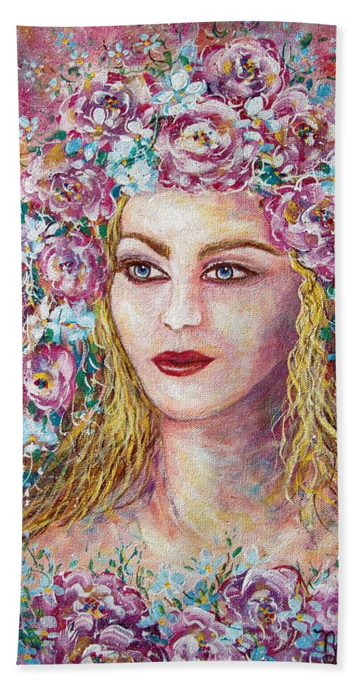 Goddess Of Good Fortune Hand Towel featuring the painting Goddess Of Good Fortune by Natalie Holland
