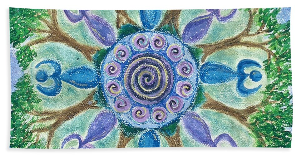 Goddess Bath Sheet featuring the painting Goddesses Dancing by Charlotte Backman