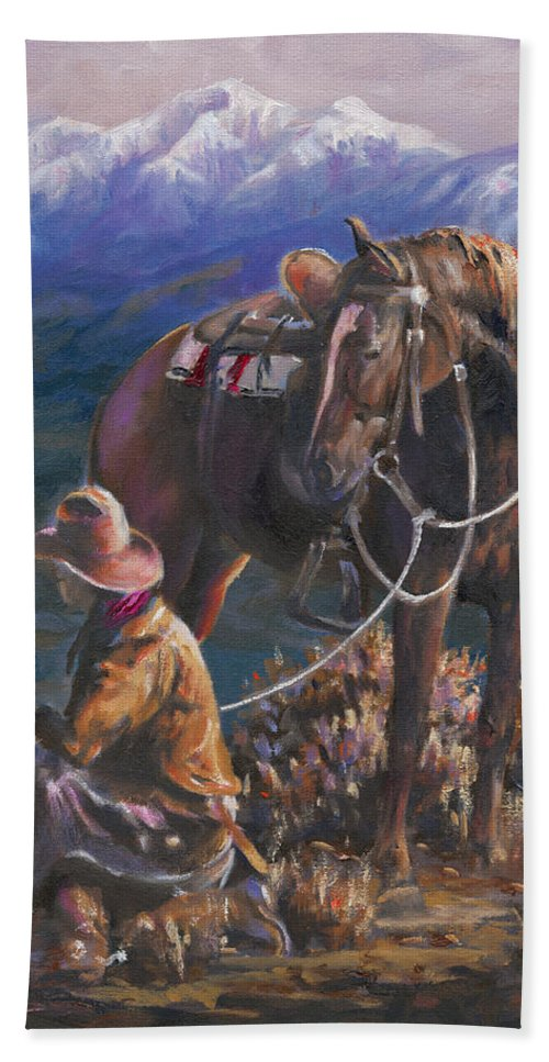 Cowboys Bath Sheet featuring the painting God's Country by Mia DeLode