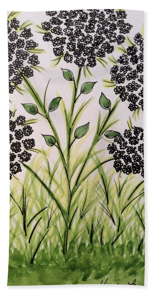 Flower Bath Sheet featuring the painting God's Only Me Wildflower by Haydee Lesane