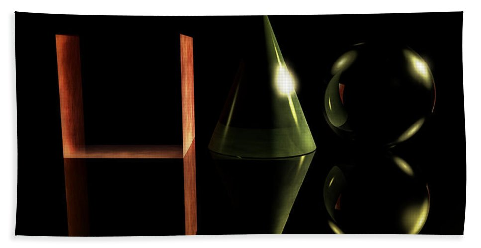Geometries Hand Towel featuring the digital art Geometries In Dark by Ramon Martinez