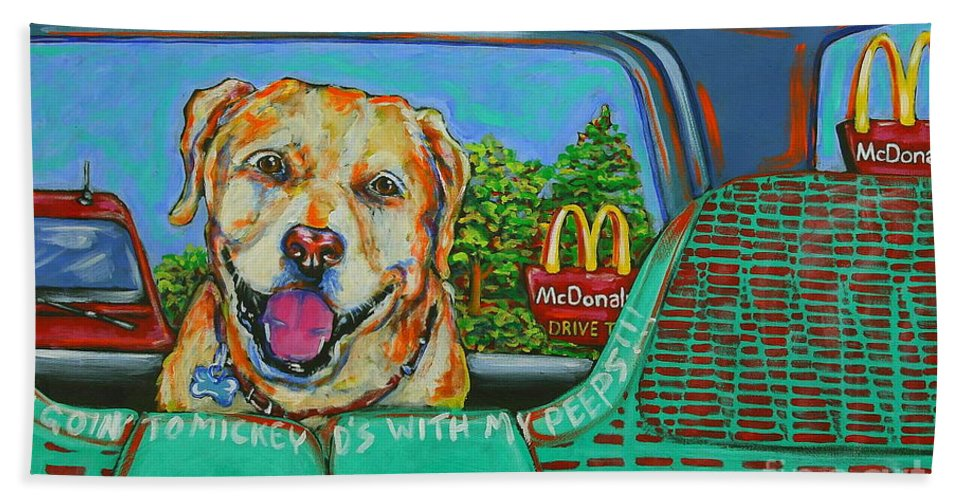 Dog Art Hand Towel featuring the painting Goin' To Mickey D's With My Peeps by Tami Curtis