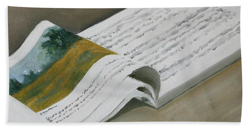 Corporate Jargon Bath Sheet featuring the painting Going By The Book by Mandar Marathe