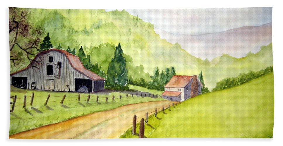 Barns Bath Sheet featuring the painting Going Home by Julia RIETZ