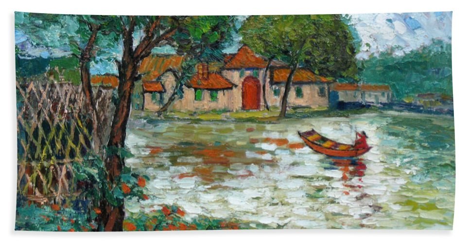 Boat Bath Towel featuring the painting Going Home by Meihua Lu