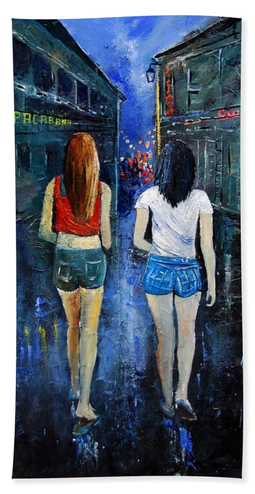 Girl Hand Towel featuring the painting Going out tonight by Pol Ledent