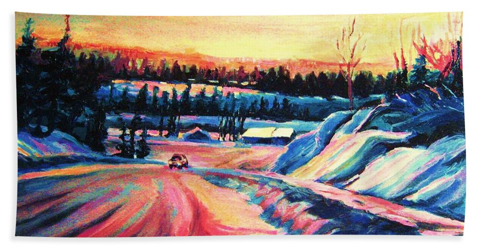 Winterscene Bath Towel featuring the painting Going Places by Carole Spandau