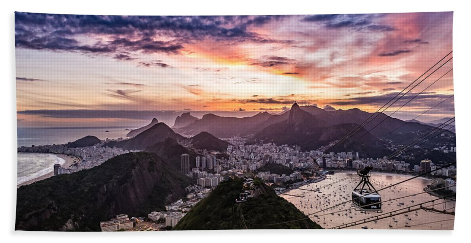 Aerial Bath Sheet featuring the photograph Going Up The Cable Car In Rio De Janeiro by Desiree Silva