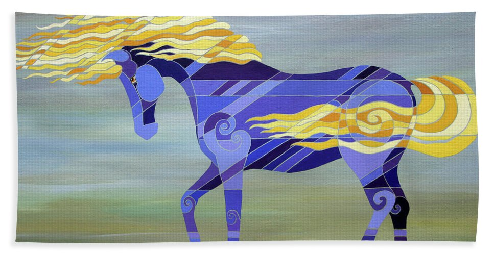 Horse Bath Sheet featuring the painting Going With The Flow by Barbara Rush