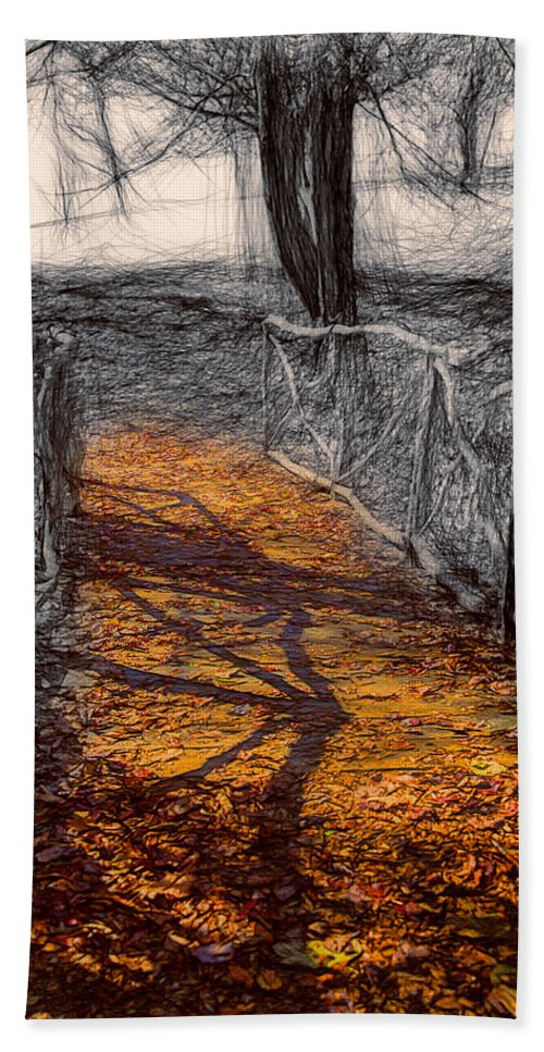 John Haldane Bath Sheet featuring the digital art Gold And Orange Path by John Haldane