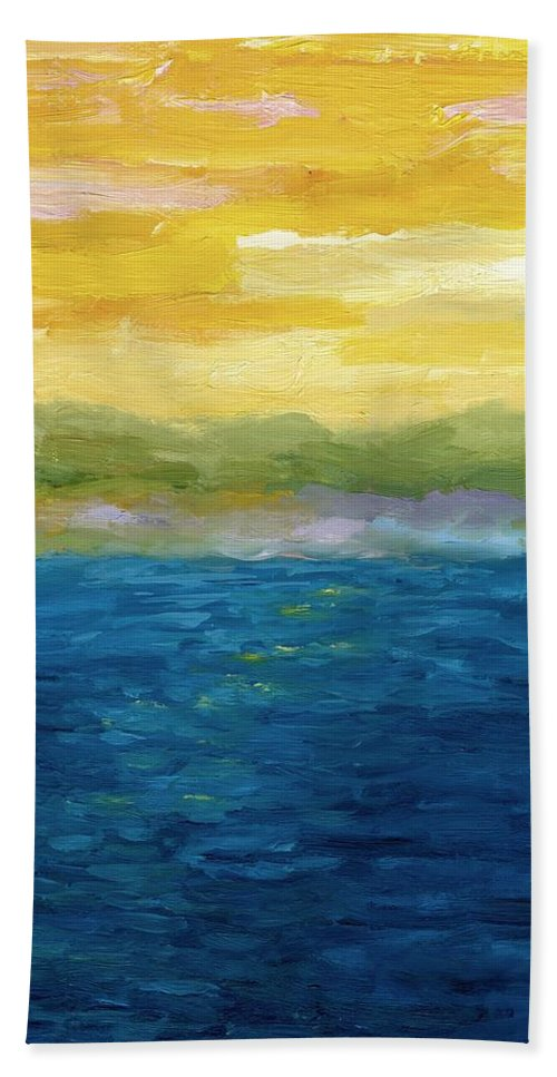 Lake Hand Towel featuring the painting Gold And Pink Sunset by Michelle Calkins