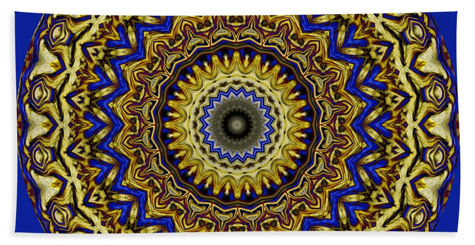 Gold Bath Sheet featuring the digital art Gold And Sapphires by Joy McKenzie