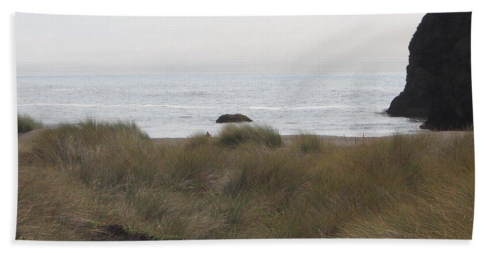 Driftwood Bath Sheet featuring the photograph Gold Beach Oregon Beach Grass 4 by Lydia Miller