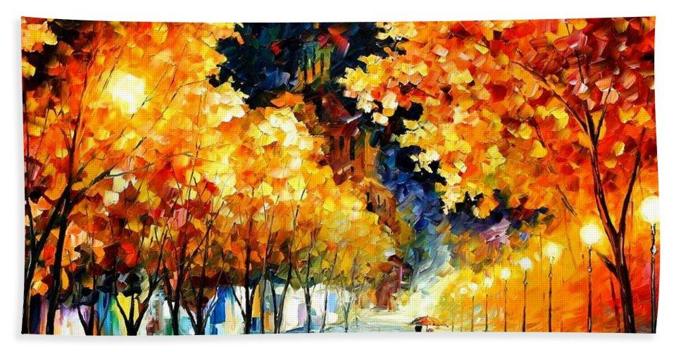 Afremov Bath Sheet featuring the painting Gold Boulevard by Leonid Afremov
