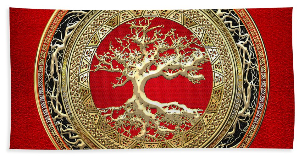 Treasure Trove By By Serge Averbukh Hand Towel featuring the photograph Gold Celtic Tree Of Life On Red by Serge Averbukh