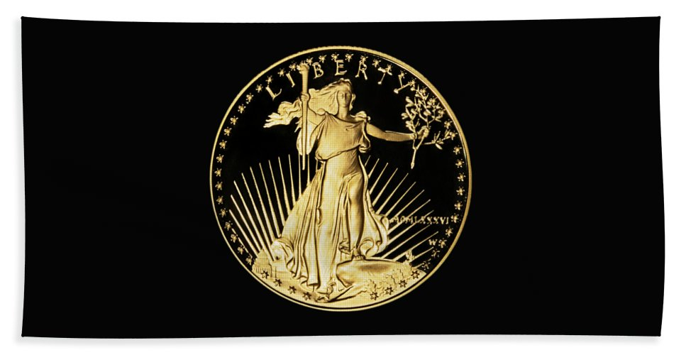 Coin Hand Towel featuring the photograph Gold Coin Front by Phyllis Denton