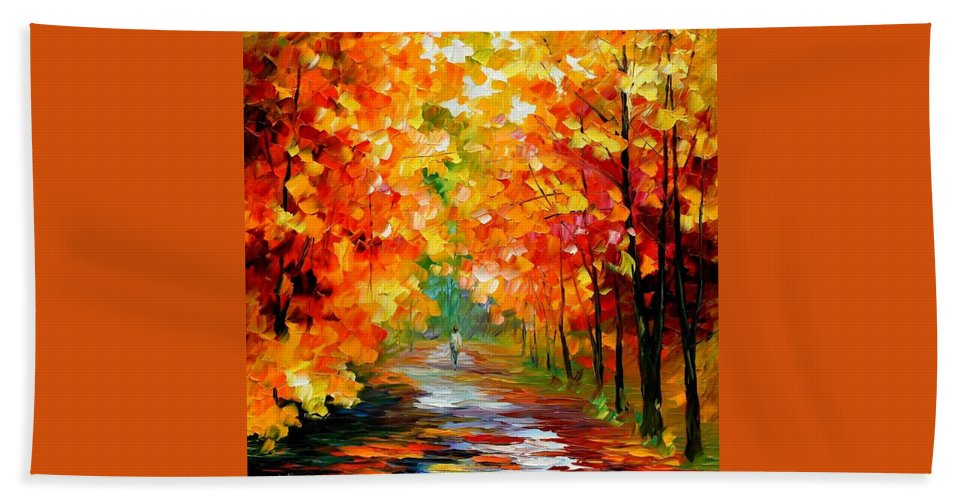Afremov Bath Sheet featuring the painting Gold Expanse by Leonid Afremov