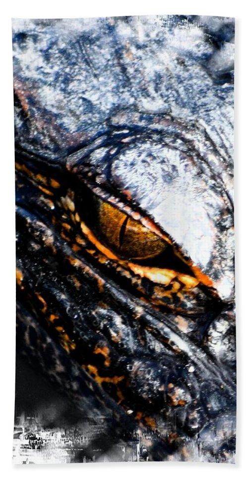 Alligator Bath Sheet featuring the photograph Gold Gator Eye by Sheri McLeroy