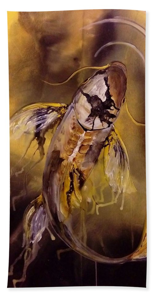 Koi Hand Towel featuring the painting Gold Koi by Karoly Grof