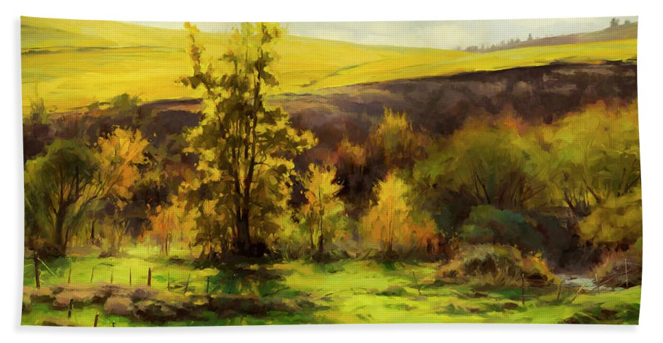 Landscape Bath Towel featuring the painting Gold Leaf by Steve Henderson