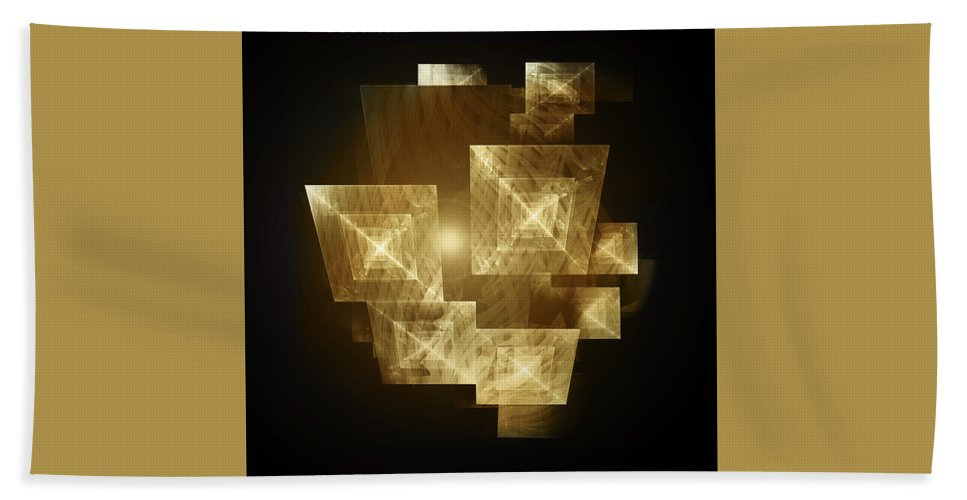 Design Bath Sheet featuring the digital art Gold Light And Panels by Andy Young
