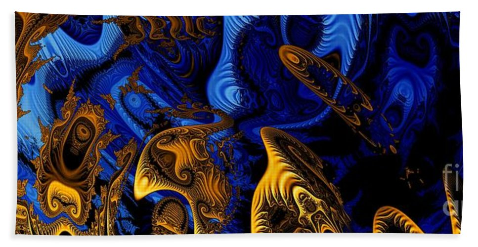 Fractal Art Hand Towel featuring the digital art Gold On Blue by Ron Bissett