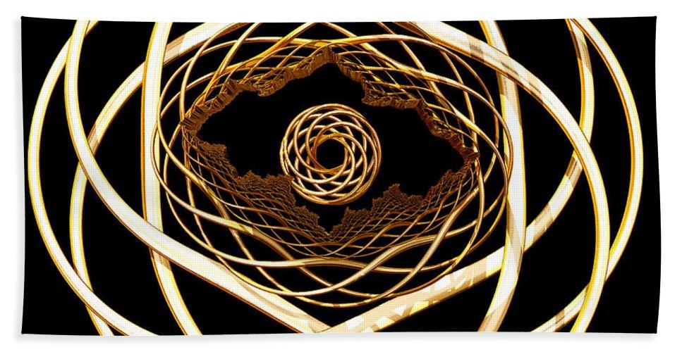 Fractal Bath Sheet featuring the digital art Gold On Gold by Deborah Benoit