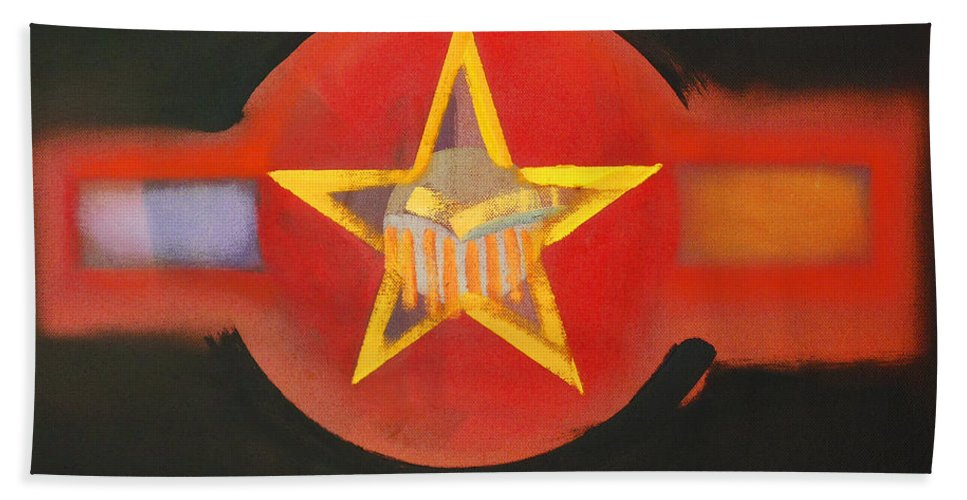 Usaaf Bath Sheet featuring the painting Gold On Heat by Charles Stuart