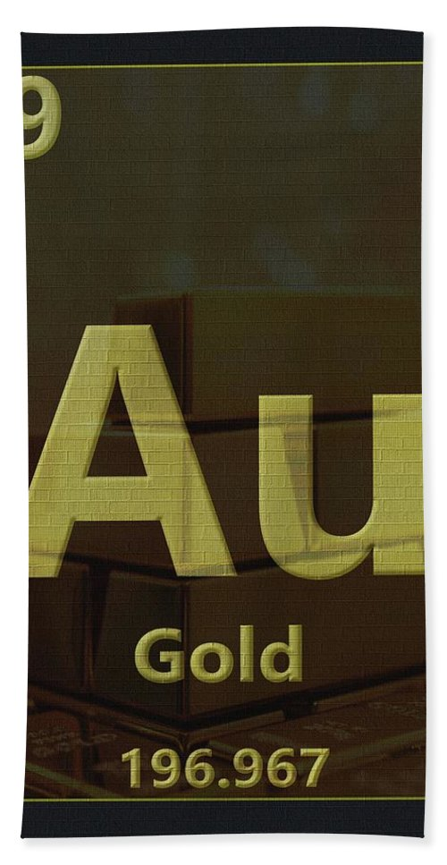 Gold Periodic Table Bath Towel featuring the digital art Gold Periodic Table by Dan Sproul