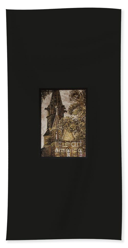 Bath Towel featuring the painting Gold Thun Castle by Pablo de Choros