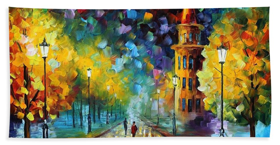 Afremov Bath Sheet featuring the painting Gold Winter by Leonid Afremov