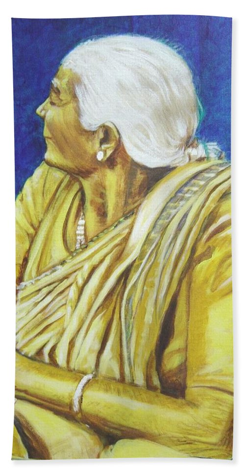 Usha Hand Towel featuring the painting Golden Age 1 by Usha Shantharam