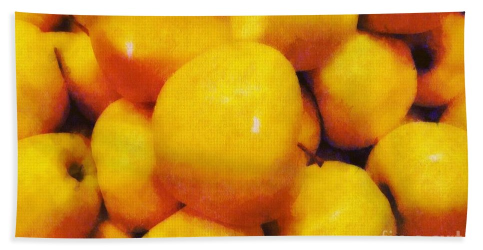 Apples Hand Towel featuring the painting Golden Apples Of The Sun by RC DeWinter