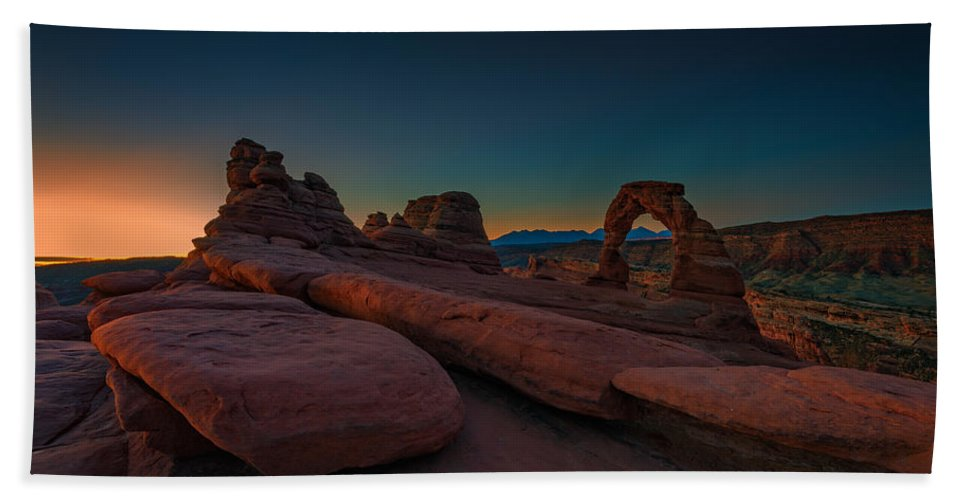 Delicate Arch Hand Towel featuring the photograph Golden Arch by Rick Berk