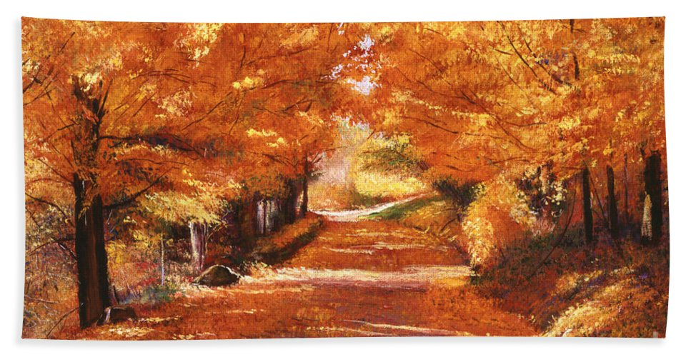 Autumn Hand Towel featuring the painting Golden Autumn by David Lloyd Glover