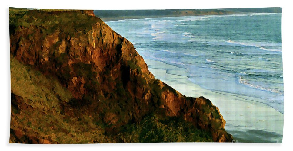 Gold Beach Hand Towel featuring the painting Golden Beach Cliff Side Painterly by Peter Piatt