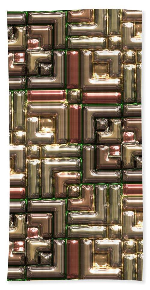 Abstract Bath Sheet featuring the digital art Golden Box 02 by Carlos Diaz