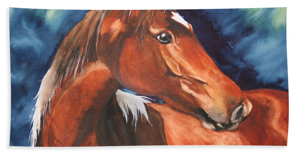 Horse Bath Towel featuring the painting Golden Boy by Jean Blackmer