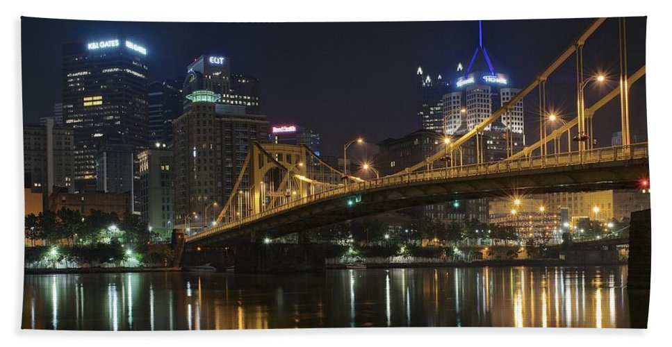 Pittsburgh Bath Sheet featuring the photograph Golden Bridge by Frozen in Time Fine Art Photography