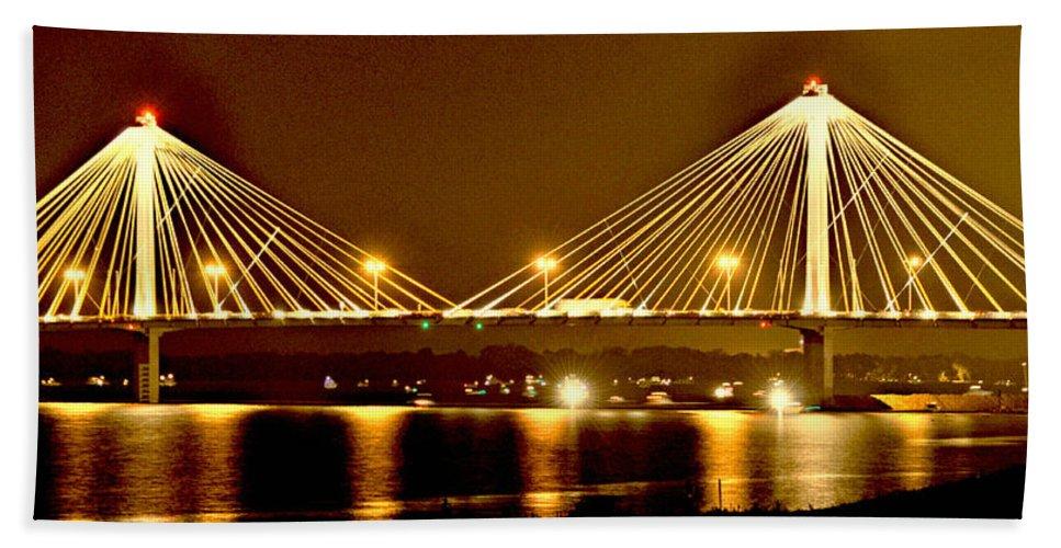 Bridge Bath Sheet featuring the photograph Golden Bridge by Marty Koch