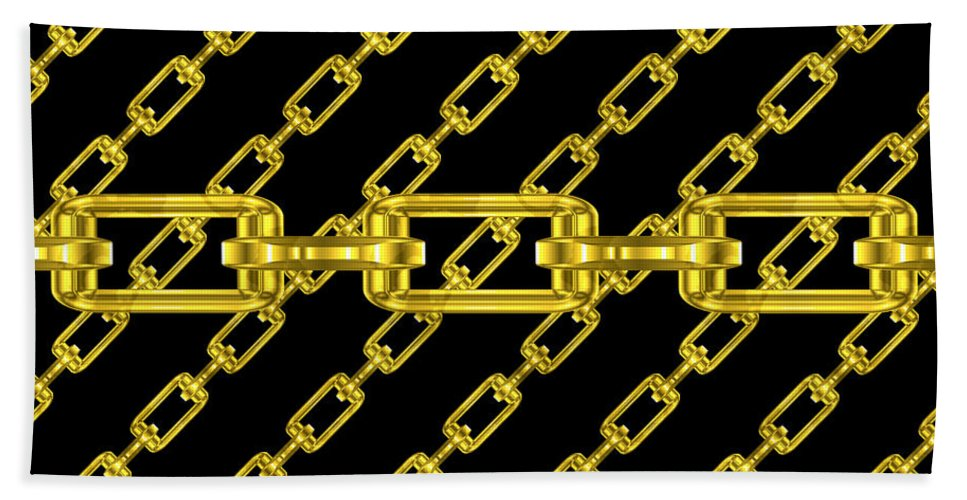 Seamless Hand Towel featuring the digital art Golden Chains With Black Background Seamless Texture by Miroslav Nemecek