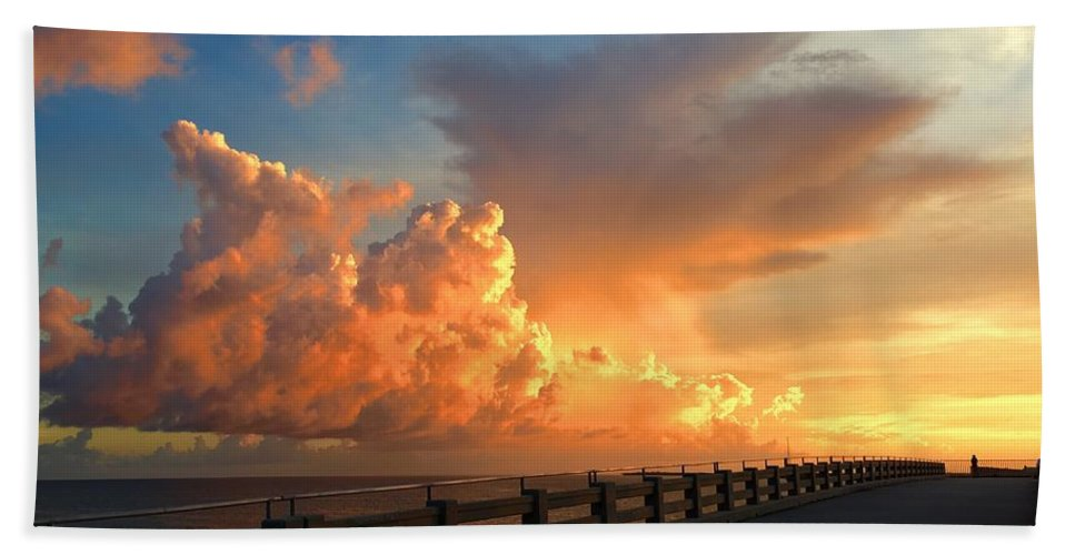 Landscape Bath Sheet featuring the photograph Golden Clouds by Kevin Karolewicz