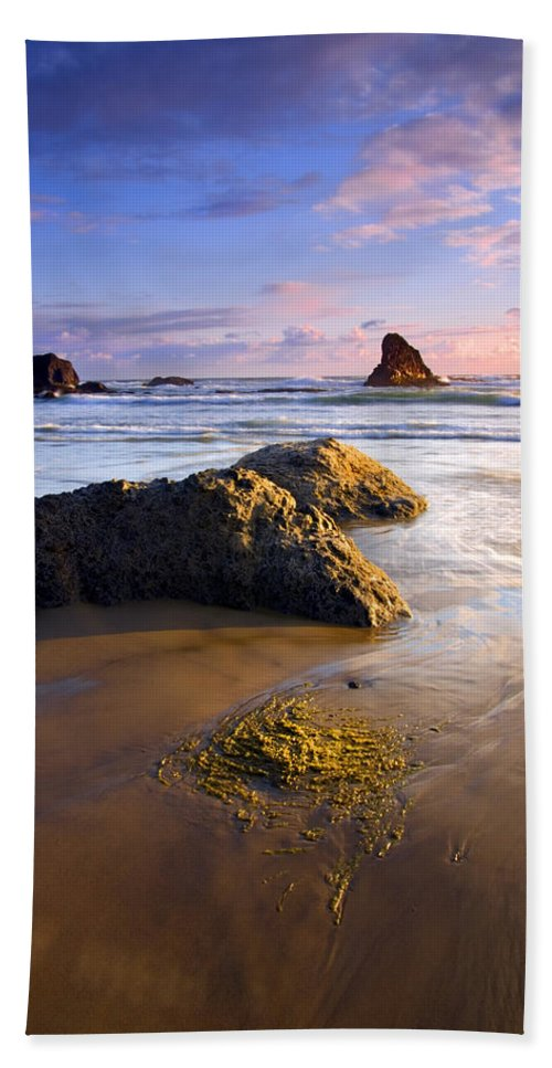 Beach Hand Towel featuring the photograph Golden Coast by Mike Dawson