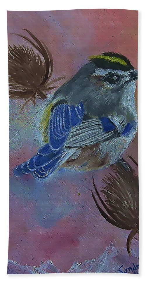 Golden-crowned Kinglet Hand Towel featuring the painting Golden-crowned Kinglet by Sandra Maddox