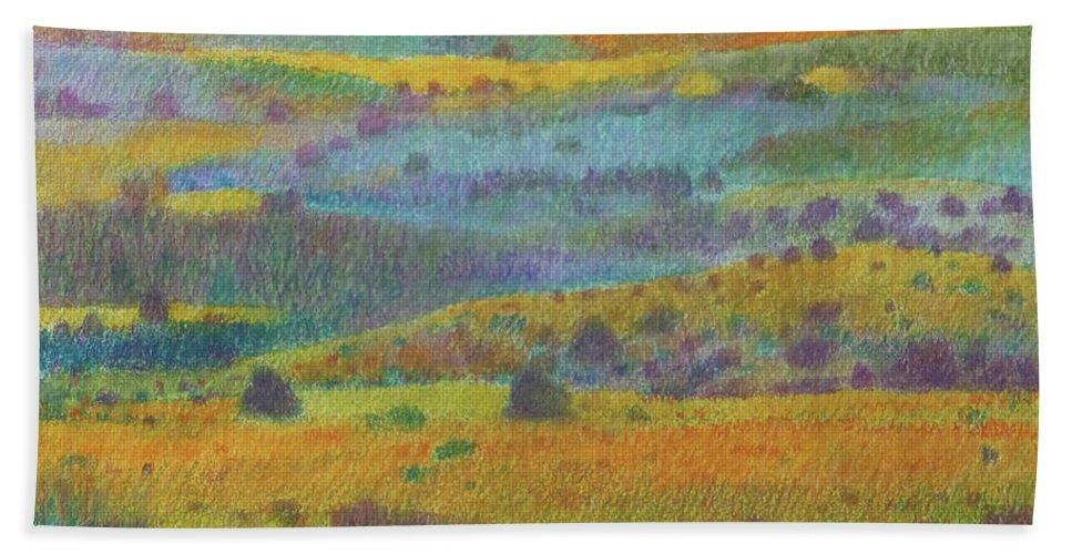 North Dakota Bath Towel featuring the painting Golden Dakota Day Dream by Cris Fulton