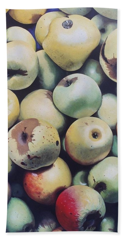 Hyperrealism Bath Sheet featuring the painting Golden Delicious by Michael Earney